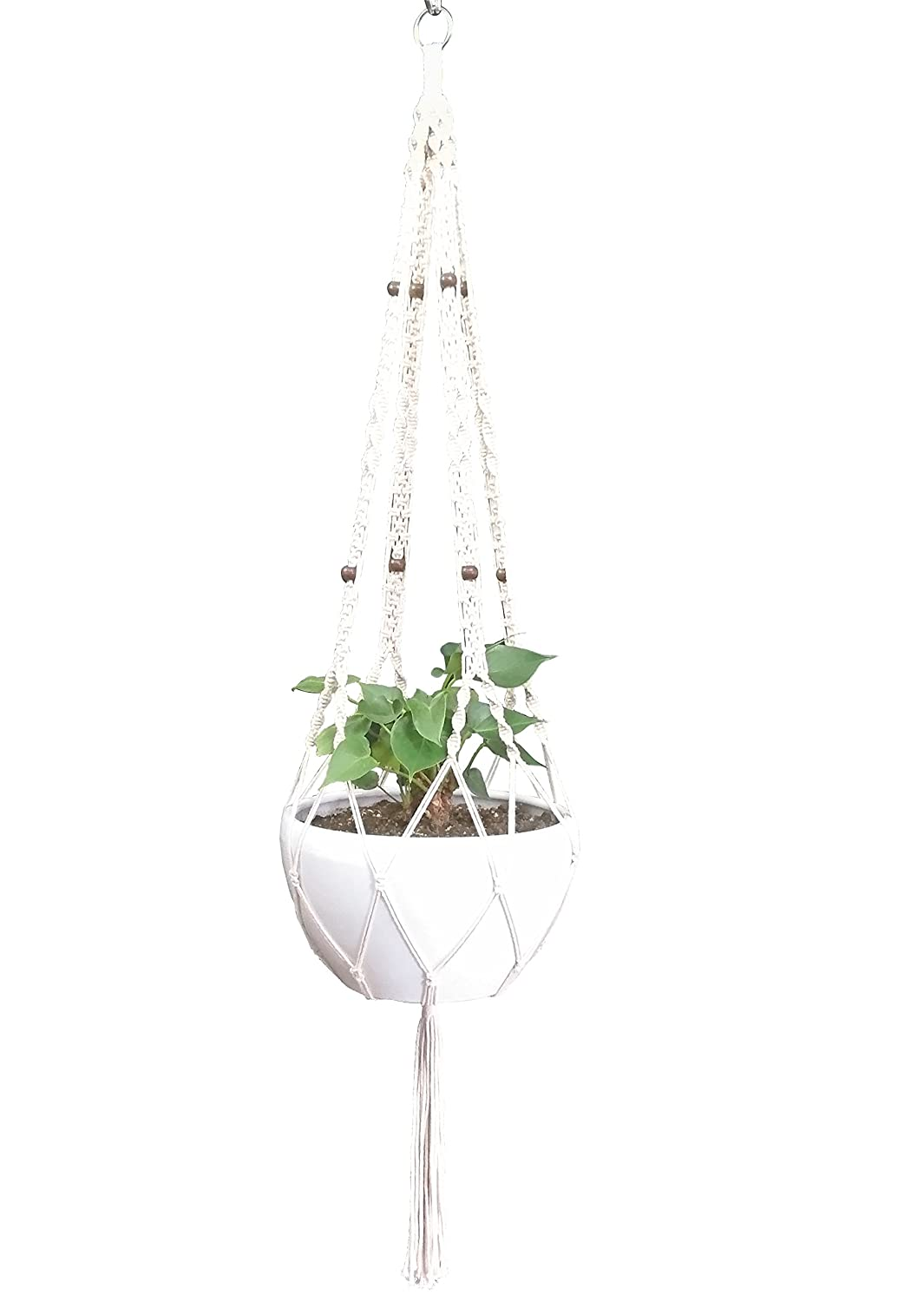 Hanpo Hemp Rope Macrame Plant Hanger Hanging Planter 4 Legs 59 Inch for 12-13 inch Plant Pot, Without Pot and Plant Cream-Cotton