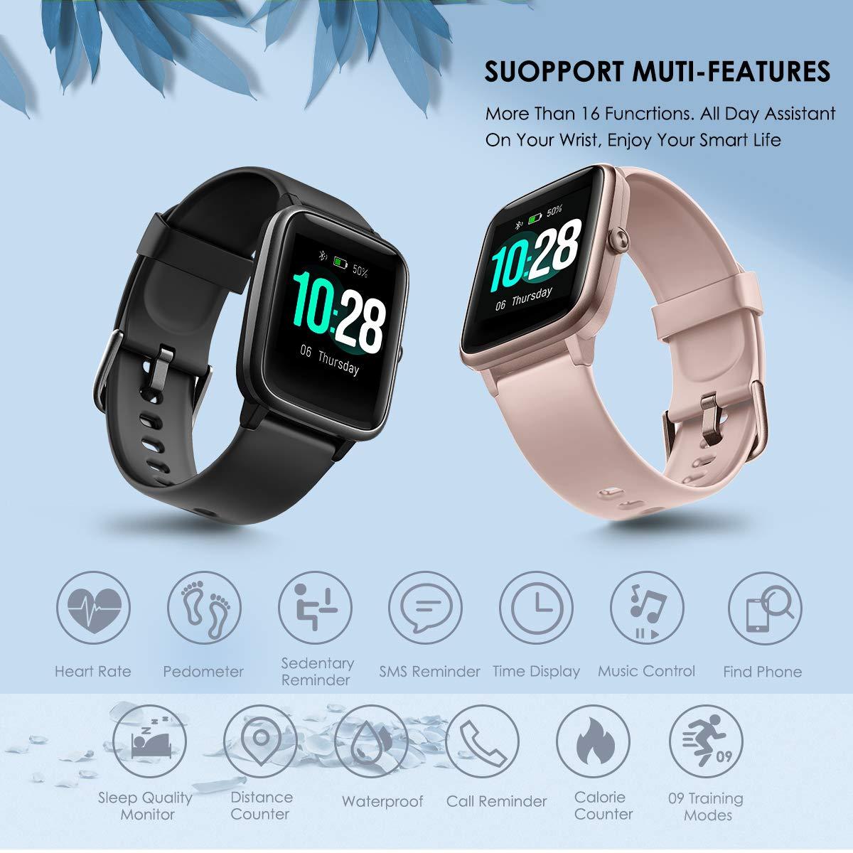 LATEC Smartwatch, Impermeable Reloj Inteligente con Pulsómetro, Pulsera Actividad Inteligente Hombre Mujer Niños para Android iOS Xiaomi Huawei iPhone