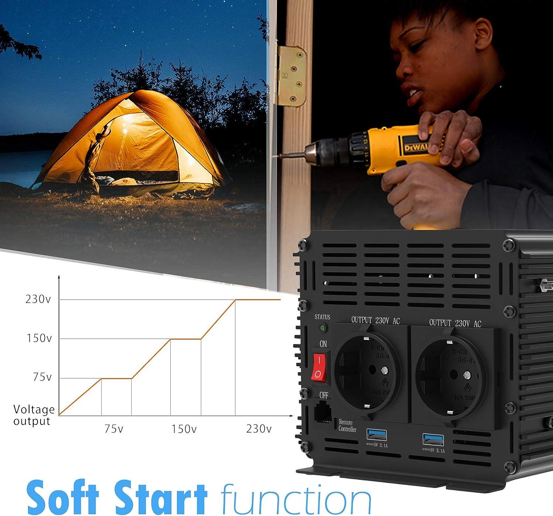 Spannungswandler Ladeger/äten 3000/W Power Inverter DC 12/V AC 230/V dc Modified Sine Wave Inverter