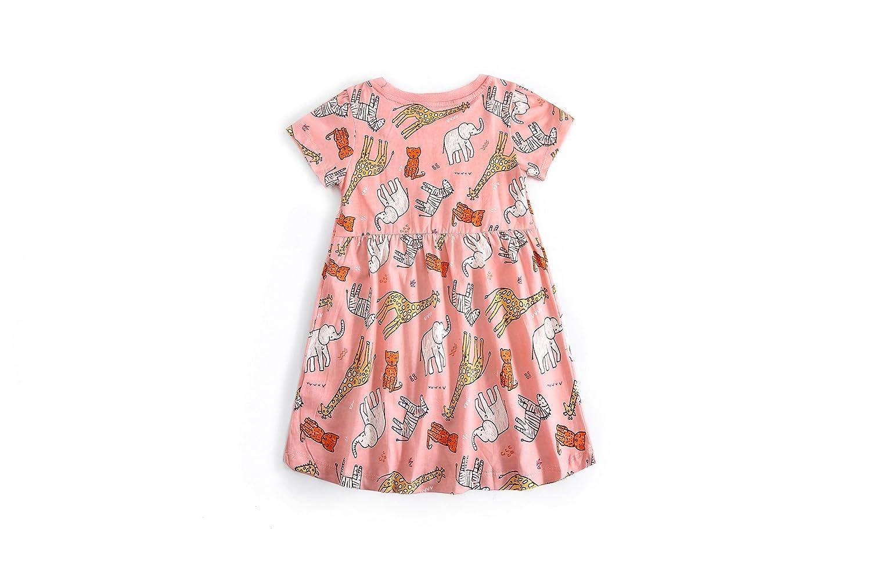 HESHENG Baby Girls Summer Playwear Dress Cotton Cartoon Print Casual Skirt Dress