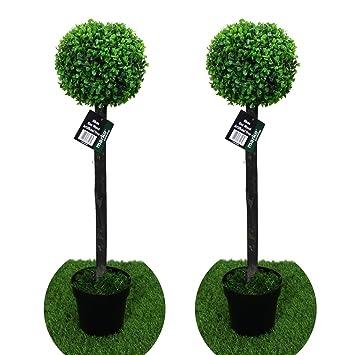 2 Paar 80 cm Kunstpflanze Box Holz Baum Innen-Dekoration Ornament ...