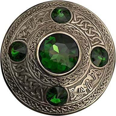 Scottish Kilt Fly Plaid Brooch 5-Light Green Stone Antique Finish Celtic Pattern