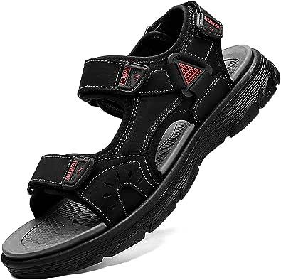 Lvptsh Sandalias Hombre Zapatillas de Senderismo Transpirable Peso Ligero Cuero Camper Deportivas Sandalias Al Aire Libre Pescador Playa Zapatos,Negro 1,EU41