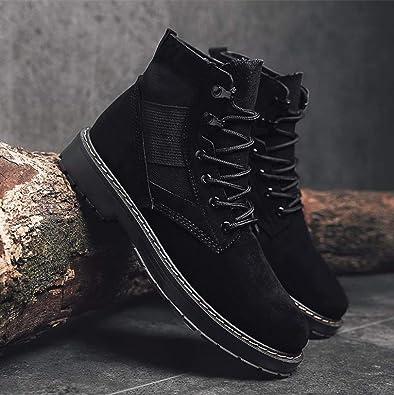 Amazon.com | Brand Men Shoes Autumn Winter Men Fashion Vintage Style Male Motorcycle Shoes Suede s Men Shoes Zapatillas Hombre, Black, 7 | Fashion Sneakers