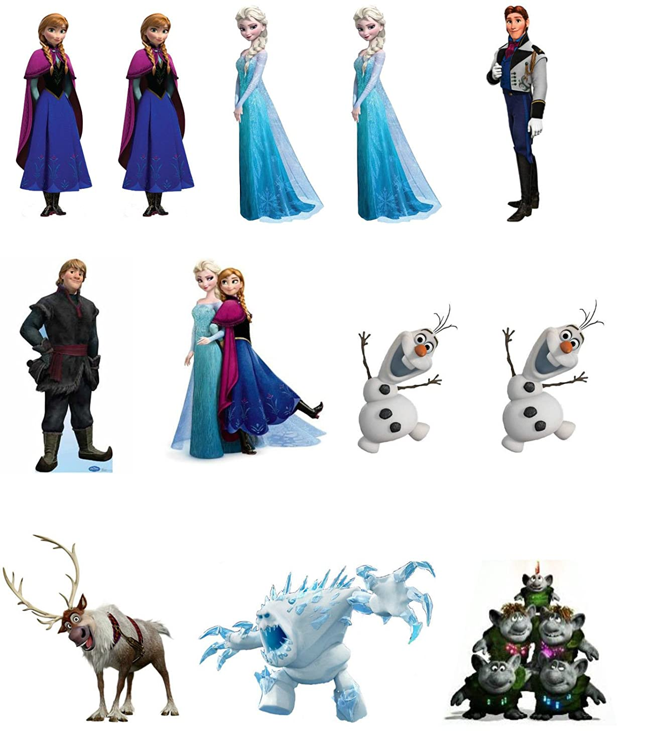 12 stand up frozen characters edible premium wafer paper cake