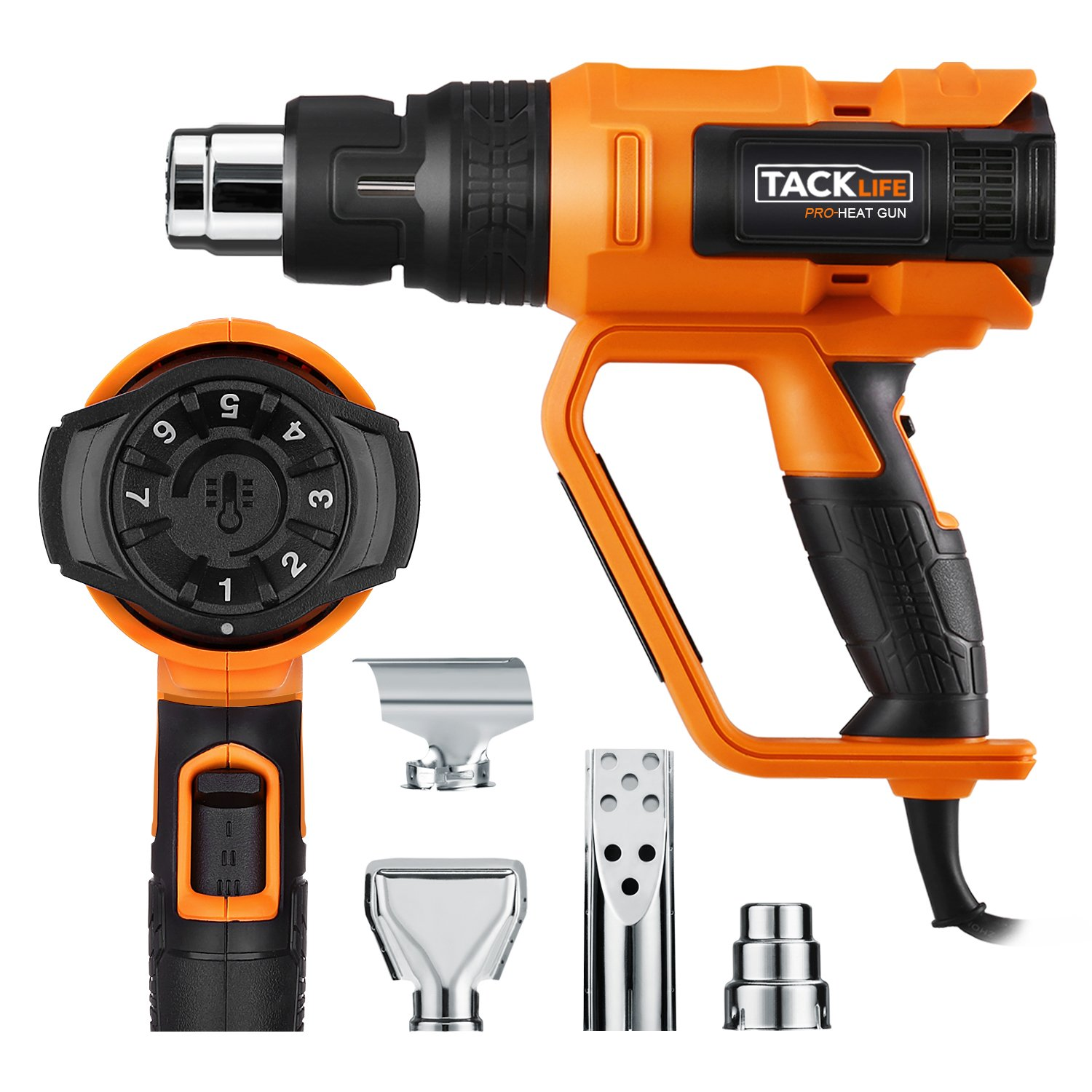 Tacklife HGP73AC Heat Gun 1600W 122℉~1112℉(50℃~600℃) Precision Control Temperature by Adjustment Dial with Three Temp-settings, Four Nozzle Attachments for Removing Paint, Bending Pipes, Shrinking PVC