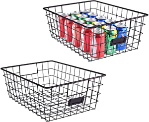 Sunny Living Metal Wire large Food Organizer Storage Baskets for Kitchen Cabinets,pantry,freezer,closet,2 pack Brown