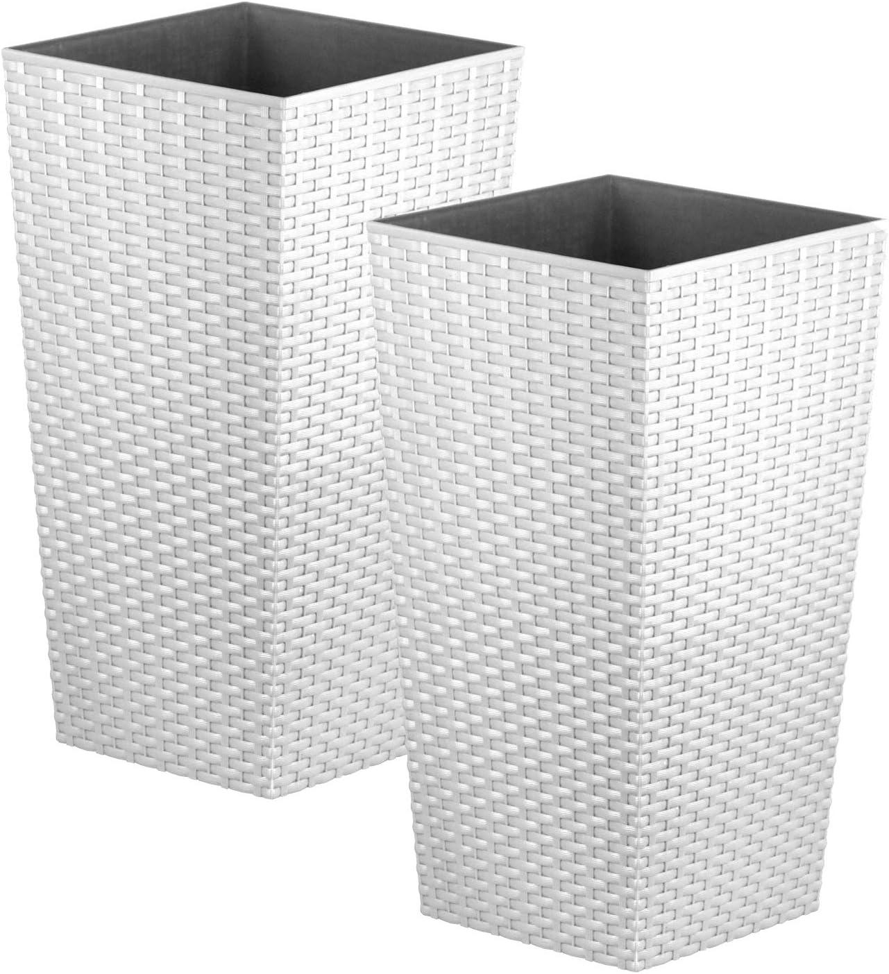 2x CrazyGadget® grande ratán de alto maceta de plástico cuadrada Jardín Maceta de flores de interior y exterior, plástico, Blanco, 26.6L