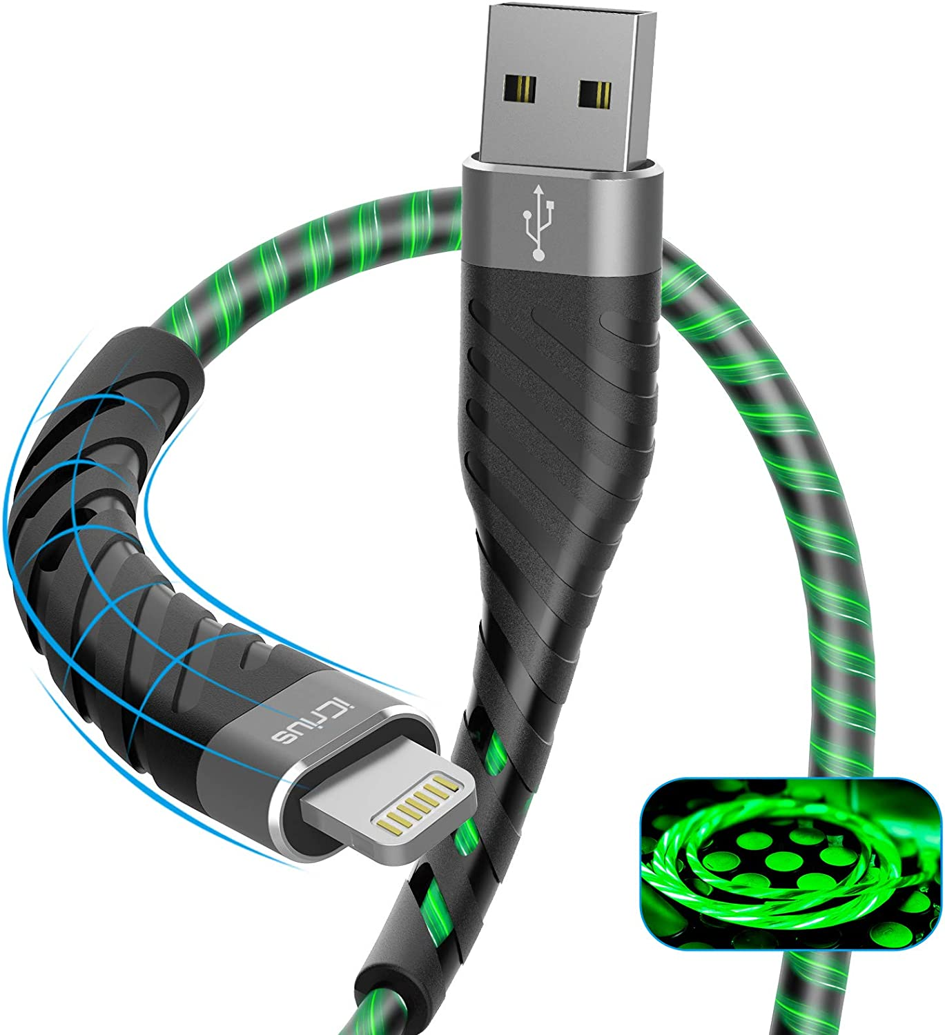 iPhone Charger, iCrius [Apple MFi Certified] 6Ft Led Light Up Lightning Cable USB Fast Charger Charging Cord Compatible with iPhone 11 Pro Max XS XR X 8 7 6 Plus SE iPad and More(Green)