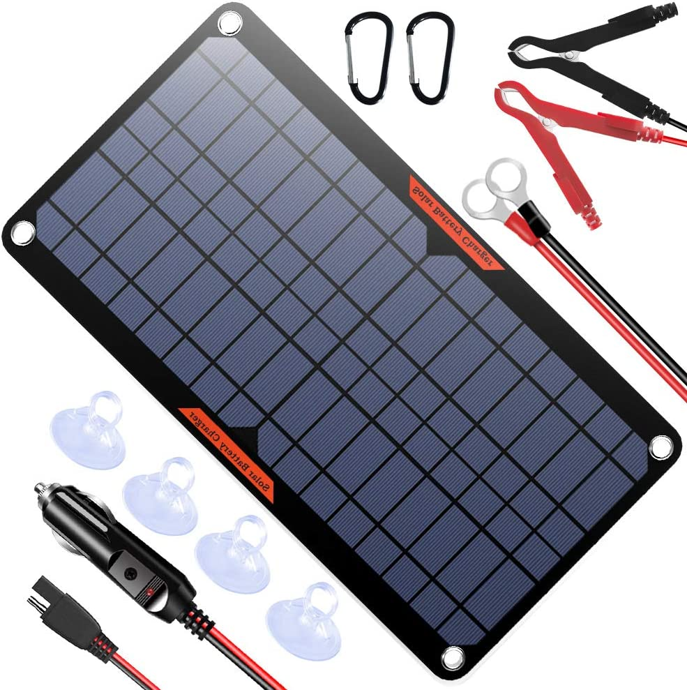 POWISER 10W 12V Solar Panel Car Battery Charger Portable Waterproof Power Trickle Battery Charger