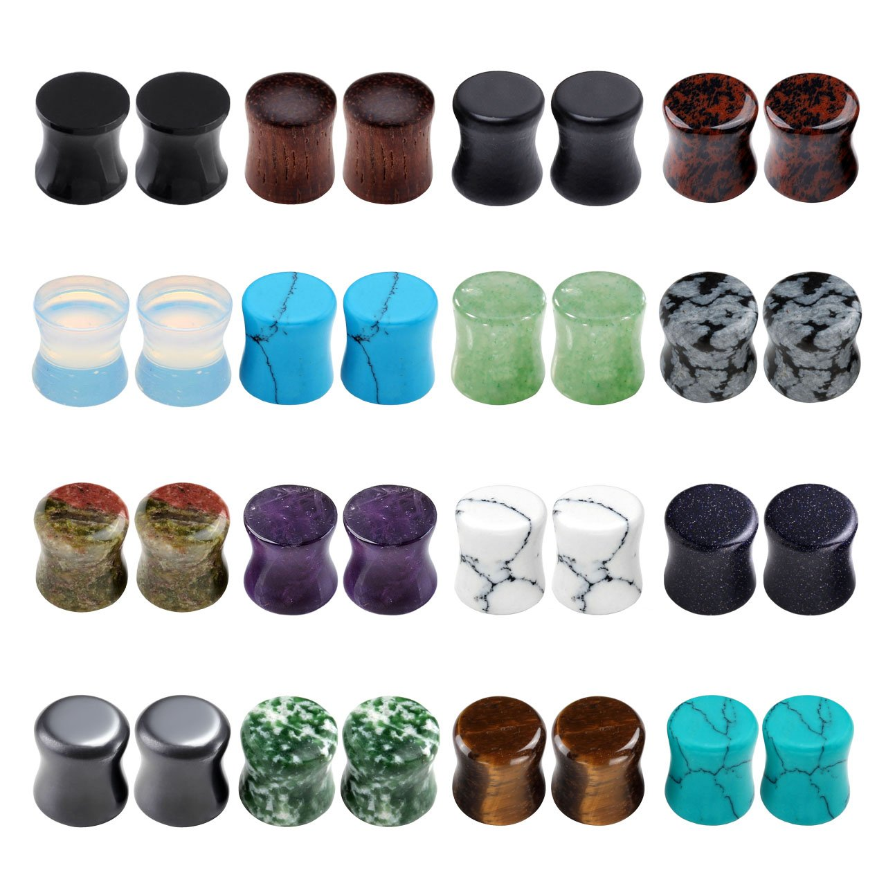 PiercingJ Acrylic Wood Mixed Stone Plugs 16 Pairs/32 Pieces Set Ear Plugs Ear Tunnels Ear Gauges Double Flared Ear Expander Stretcher Set