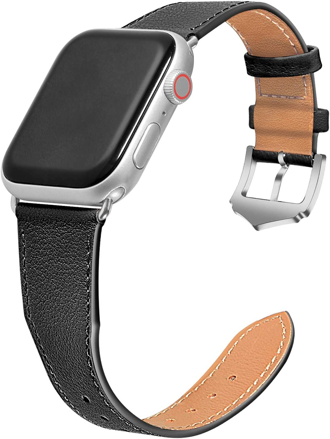Genuine Leather Watch Bands Compatible with Apple Watch Bands 38mm 40mm 42mm 44mm for Men Women Straps,Top Band Slim & Thin Replacement Wristband for iWatch Bands SE & Series 6/5/4/3/2/1