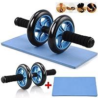 Yahee Roue Abdominaux Ab Wheel Roller Fitness Musculation Appareil Abdos Entraîneur Abdominal-Tapis Epais Genou Bleu