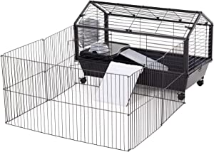 "PawHut Rolling Metal Rabbit, Guinea Pig, or Small Animal Hutch Cage with Main House and Run, 35"" L"
