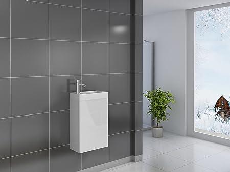 Kleiner Waschtisch 40 x 22 cm Grau Hochglanz SAM Waschplatz Vega Keramikbecken T/ür mit Push-Open-Funktion