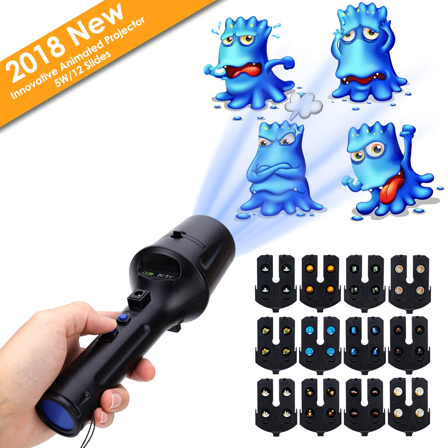 LED Projector Flashlight, LUXONIC Portable Handheld Flashlight and Projector Light 2 in 1 Decoration Projector Lamp Battery Operated with 12 Animated Pattern Slides and Tripod Holiday Projection Lamp