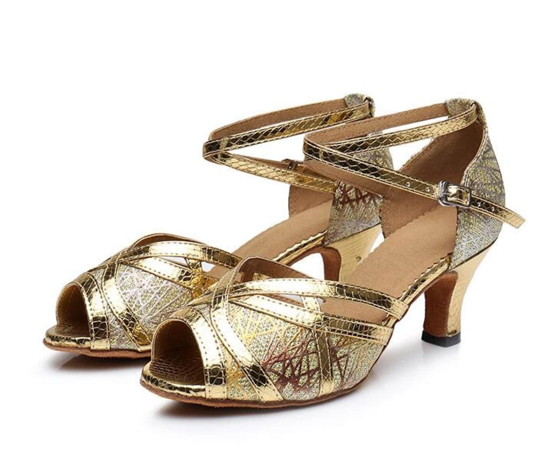 Jschuhe Damen Glitter Pailletten Ballroom Tanzschuhe Latin Tanzschuhe Ballroom Salsa Tango Tee Samba Modern Jazz Schuhe Sandalen High Heels GoldHeeled7.5cm-UK5 EU37 Our38 5a4994