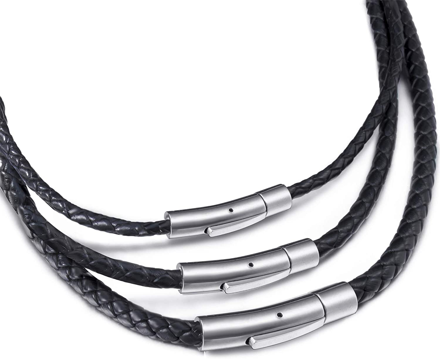 Elfasio Black Braided Leather Cord Rope Necklace Chain Stainless Steel Clasp 3/4/5mm 16-30 inch