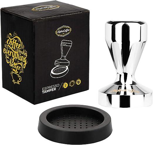 AlphaCoffee - Prensador para cafetera espresso (51 mm, incluye tamper para cafetera espresso, accesorio portafiltro, tamper de 51 mm, con alfombrilla para prensar café, accesorios barista): Amazon.es: Hogar