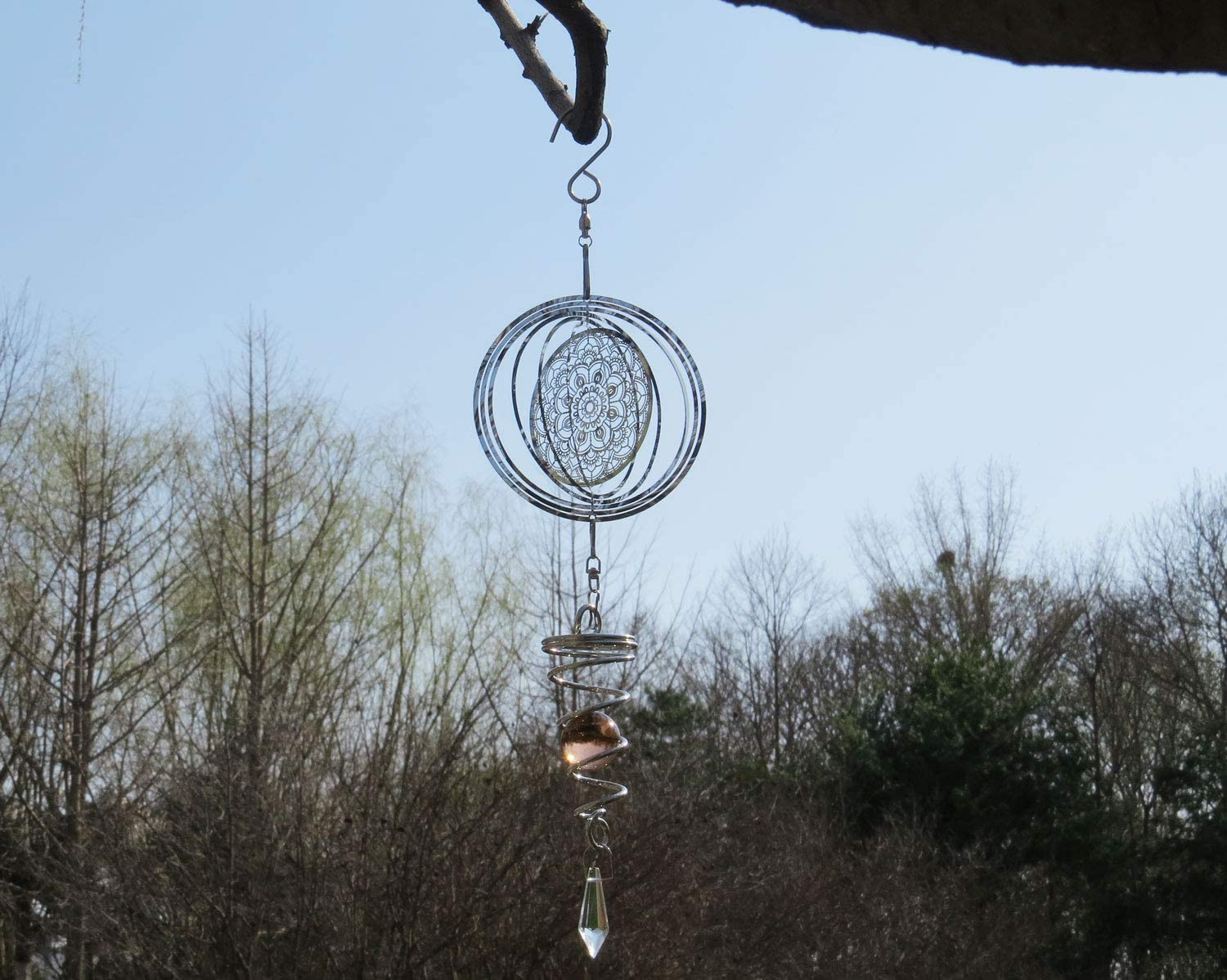 3D Mandala Wind Spinner Hanging with Gazing Ball Spiral Tail, 360 Degrees Spin Metal Wind Sculptures, Stainless Steel Chimes for Outdoor Garden Room Crafts (14 Inches, Mandala)
