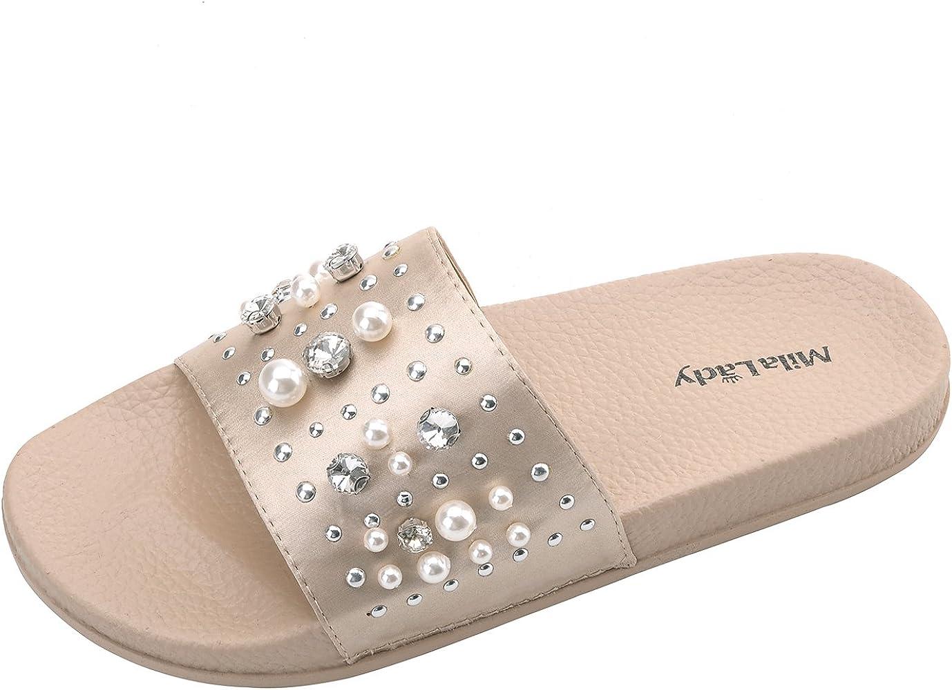 Womens Pearl Slides Sandals Slipper