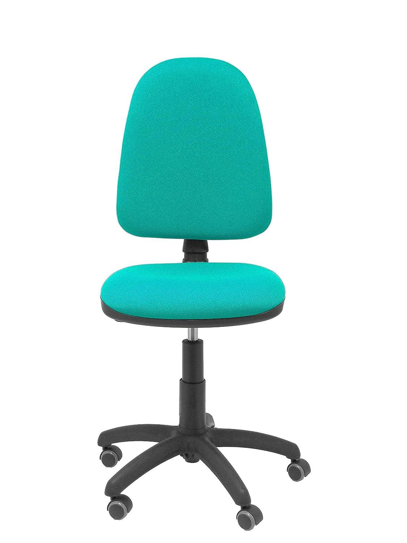 PIQUERAS Y CRESPO modell 04CP ergonomisk kontorsstol med permanent kontaktmekanik, justerbar höjd och hjul parkettsäte och rygg vadderad i tyg bali blå Ljusgrön