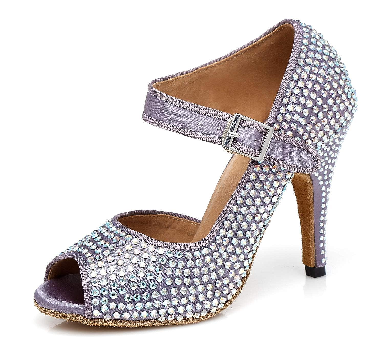 MINITOO Ladies TH126 4 Heel Crystals Satin Wedding Ballroom Latin Taogo Dance Sandals