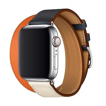 a9eef809955 XCool Compatible Bracelet Watch 42mm 44mm Cuir Orange Bleu Double Tour Bande  de Remplacement pour iwatch
