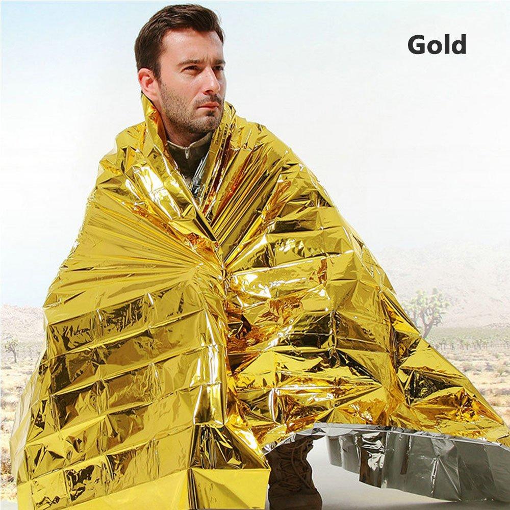 ATPWONZ 10pcs Manta Emergencia Supervivencia Impermeable Oro y Plata en Manta de Emergencia Manto Protector Solar/frí o al Aire Libre (140 x 210cm)