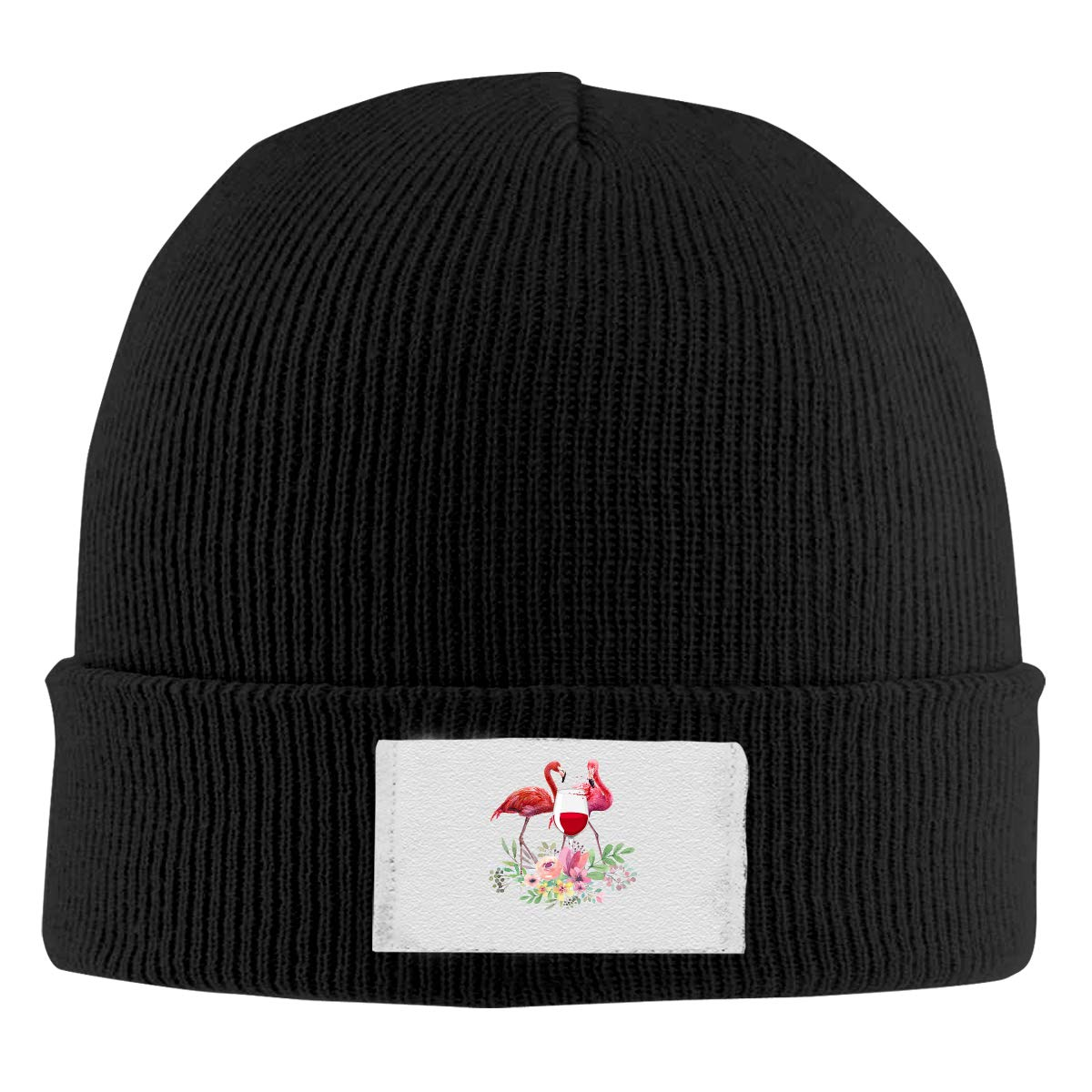Skull Caps Floral Flamingo 1 Winter Warm Knit Hats Stretchy Cuff Beanie Hat Black
