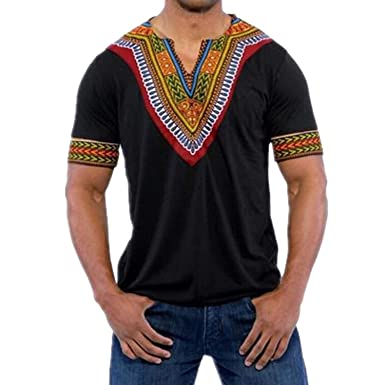 7b4833e2 HLHN Men T-Shirt,Short Sleeve V Neck Slim Fit Africa Print Tops Fashion  Casual Pullover Blouse: Amazon.co.uk: Clothing