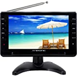 "Trexonic Portable Ultra Lightweight Rechargeable Widescreen 9"" LED TV with SD, USB, Headphone Jack, Dual AV Inputs and Detachable Antenna"