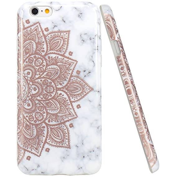 super popular dbe4e 1362f iPhone 6 Case, iPhone 6S Case, JAHOLAN Shiny Rose Gold Mandala Flower  Marble Design Clear Bumper TPU Soft Rubber Silicone Cover Phone Case for  iPhone ...