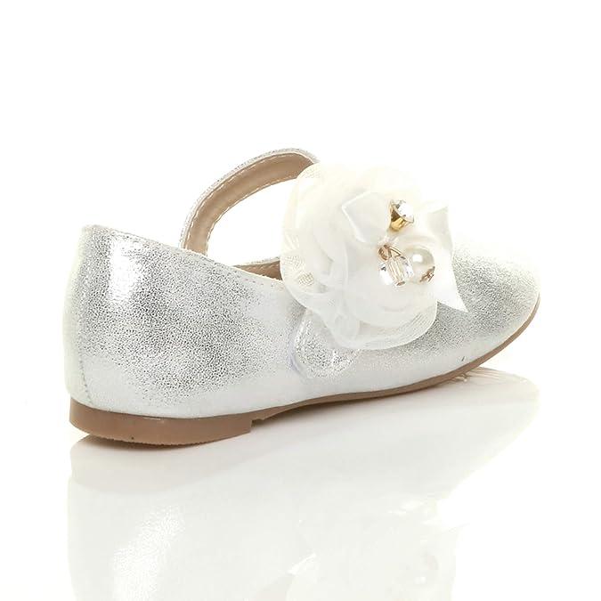 6098fa5444476e Ajvani Girls Kids Childrens Flat Mary Jane Wedding Bridesmaid Shoes  Ballerinas Size  Amazon.co.uk  Shoes   Bags