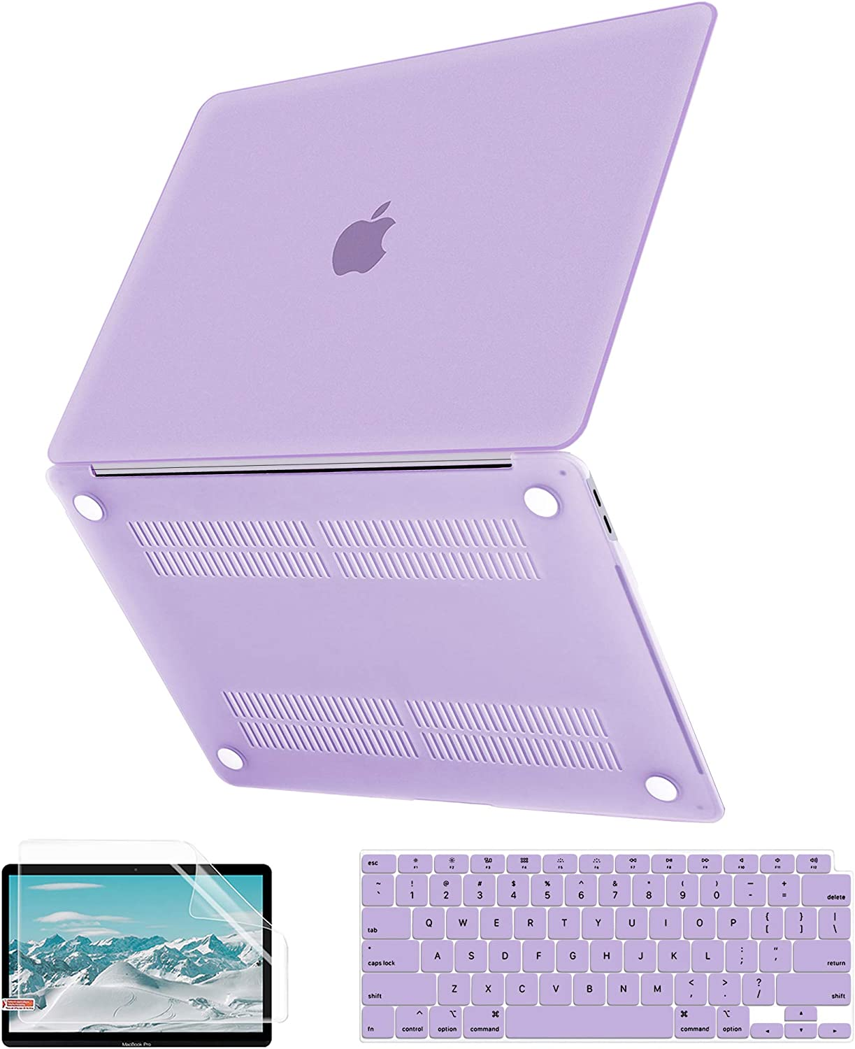 MacBook Air 13 Inch Case 2020 2019 2018 Release A2179 A1932, G JGOO Slim Matte Clear Hard Shell Case + Keyboard Cover + Screen Protector for Apple Mac Air 13.3 with Retina Display & Touch ID, Purple