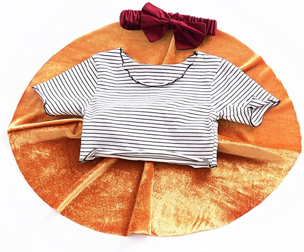 LNGRY Toddler Kids Baby Girls Outfit Clothes Stripe Print T-Shirt Tops+Skirt Set
