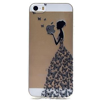 28110e7501 Funluna iPhone SE Case Clear, iPhone 5S Cover, Ultra Slim Soft TPU Silicone  Back