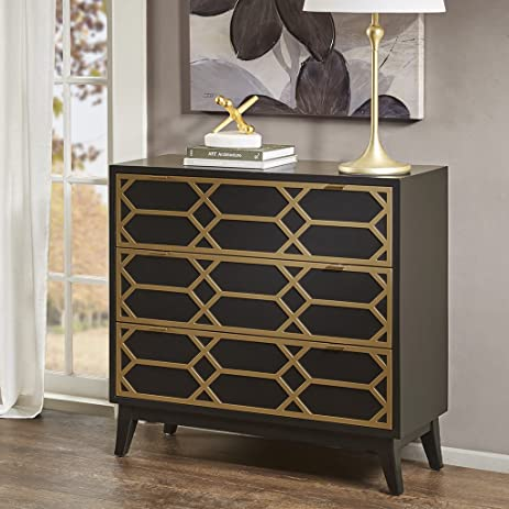 Maria Gold Lattice Accent Chest Black/Gold See Below