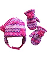 N'Ice Caps Little Girls and Baby Fair Isle Fleece Hat and Mittens Set