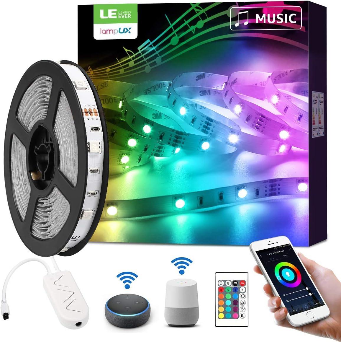 LE Luces de Tiras LED 5M 24W Luz RGB, Control de Voz y APP Inteligente, WiFi Tira TV de la Música Compatible con Alexa y Google Home, Decoración para el Hogar, Boda y más (Solo 2,4 GHz)