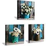 Flower Artwork Botanical Canvas Prints: Bouquet of Mixed Windflower in Rustic Vases, Wall Art Set in White & Yellowish for Wa