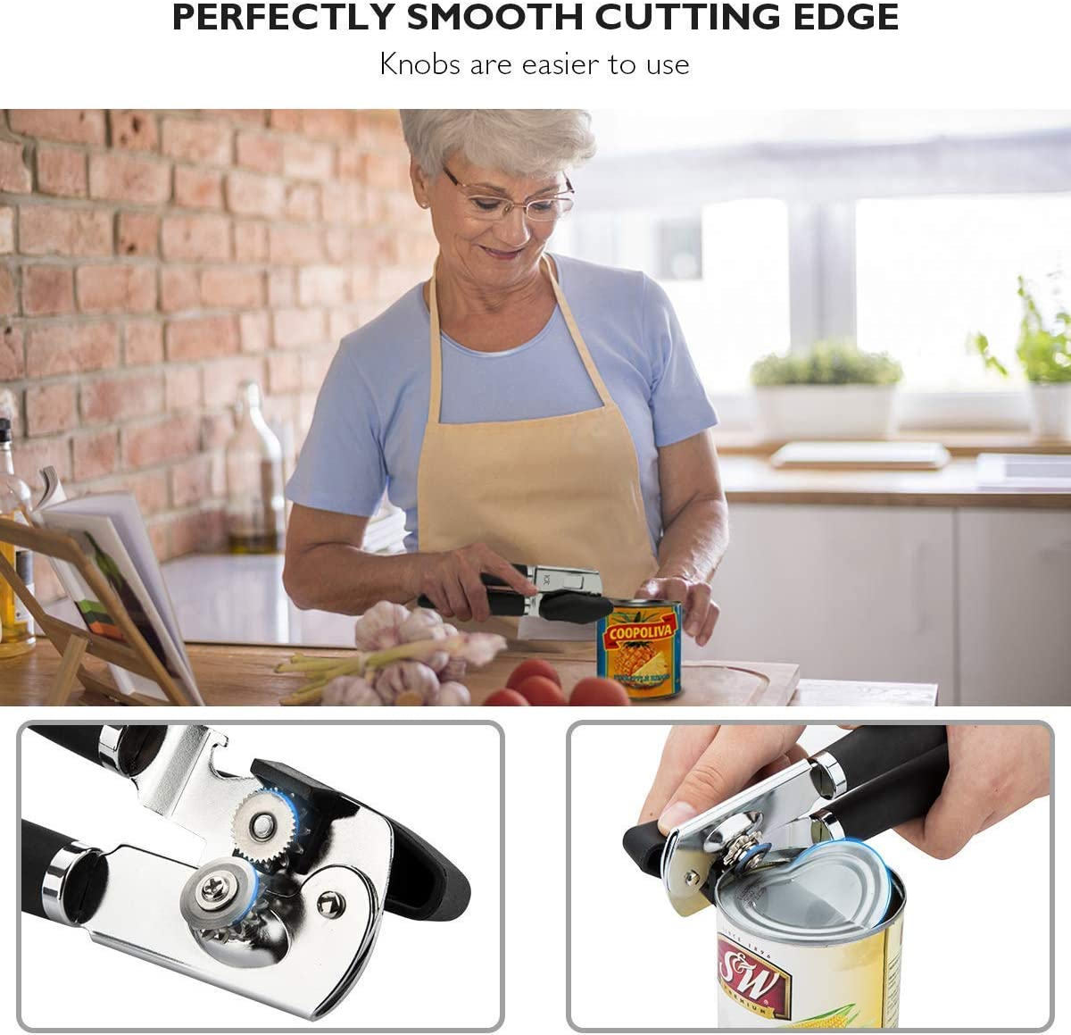 Carbon-Steel Blade for Safety Smooth Edge Heavy Duty 3-in-1 Bottle Opener Lever for Kitchen Restaurant Camping(Black) TOP Quality Stainless Steel Manual Tin Can Opener Can Opener