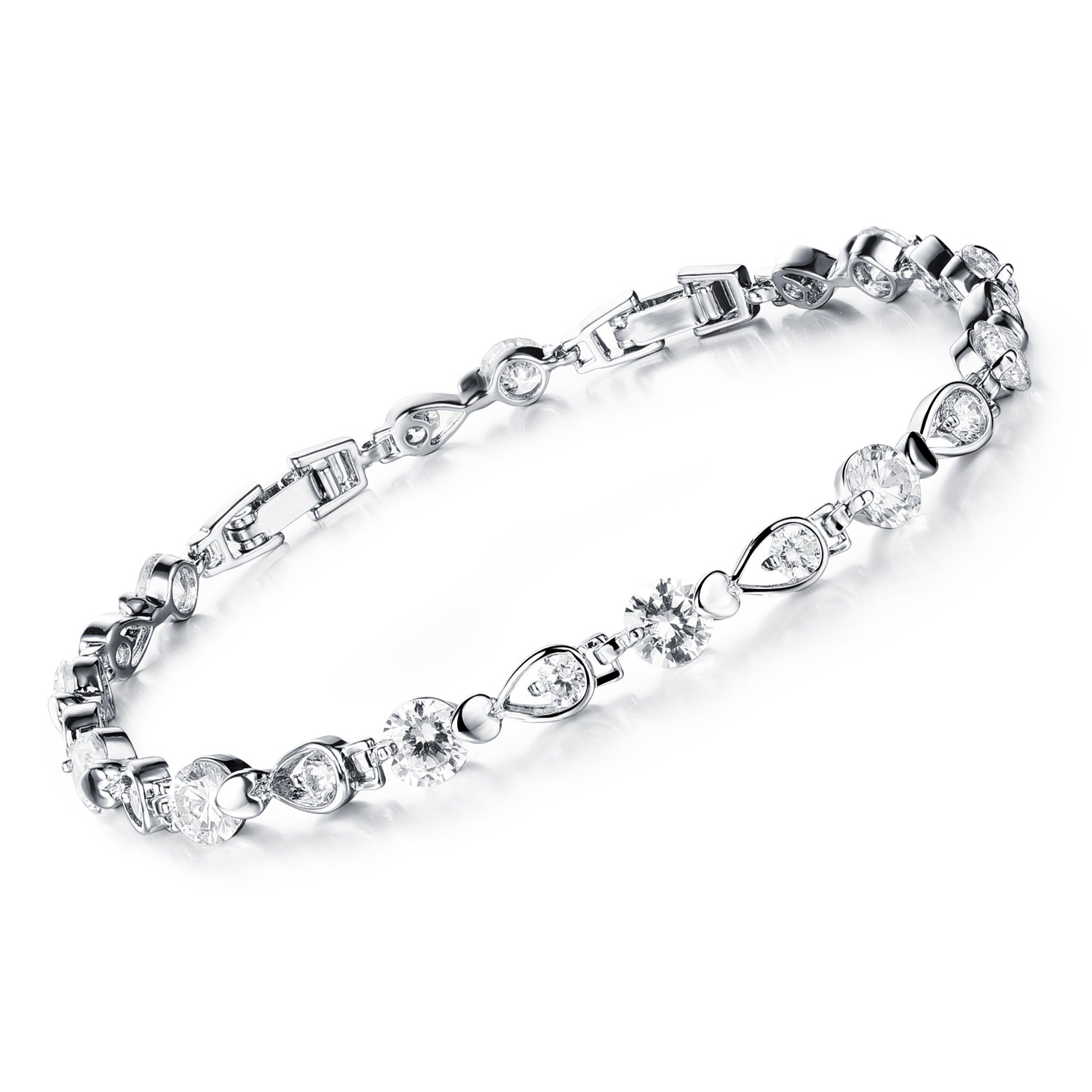 Stainless Steel Swarovski Elements Cubic Zirconia Bracelet with Extended Chain for Women 6.8+1.2''