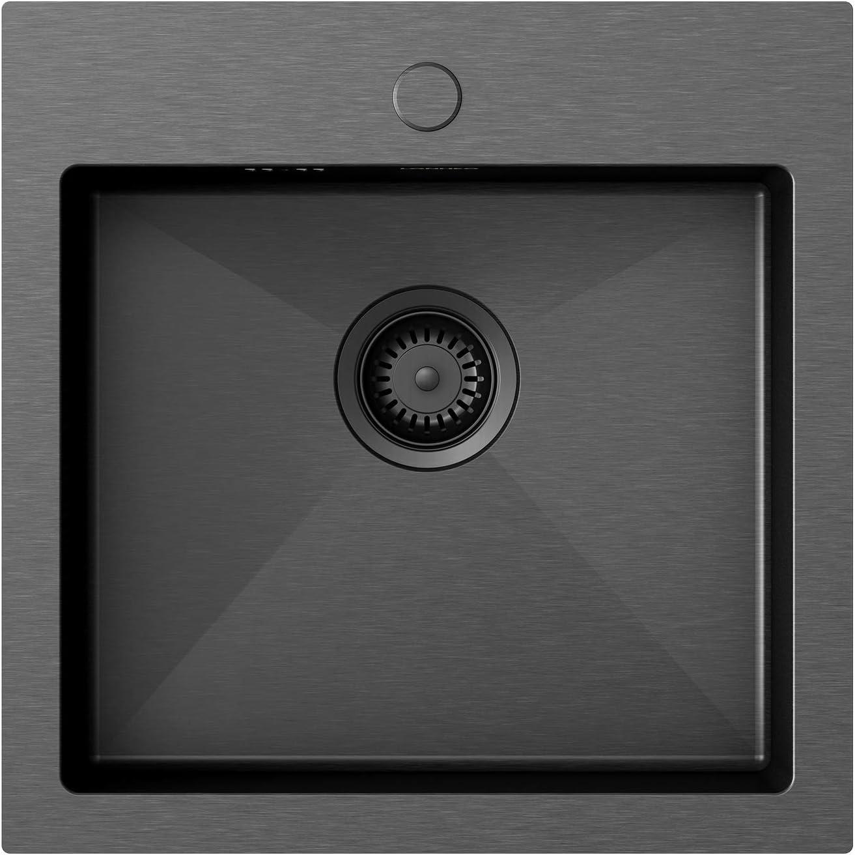 Lonheo Fregadero Cocina 1 seno negro de 49 * 49 cm, para mueble de 60 cm, fregaderos cuadrado de acero inoxidable, incluyendo juego de rebosadero y desagüe, sobre encimera o enrasado