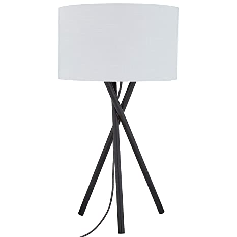 Rivet Atlas Mid Century Modern Wood Tripod Table Desk Lamp With Light Bulb    14 X 14 X 26.5 Inches, White Shade And Black Finish     Amazon.com