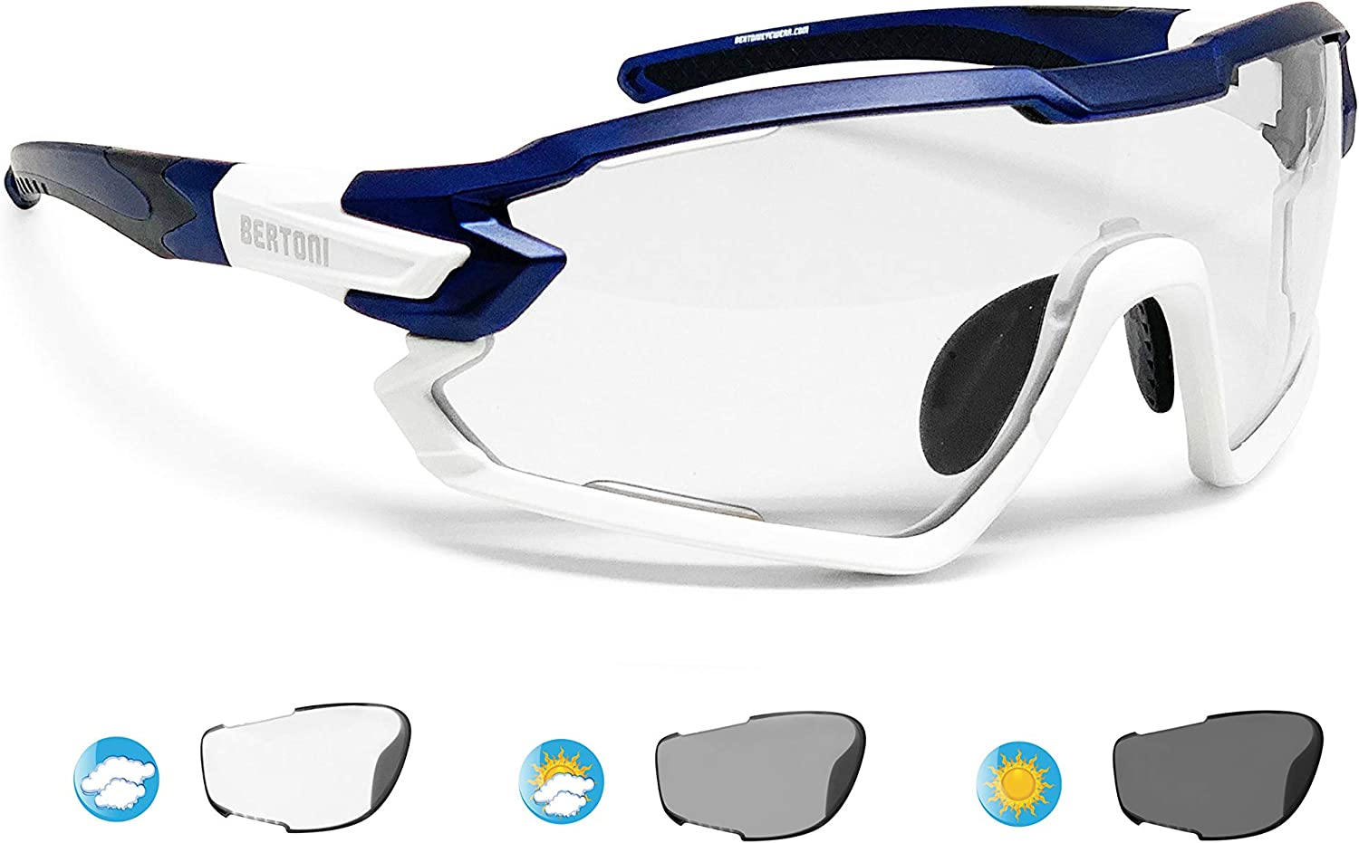 Bertoni Sport Sunglasses Polarized Photochromic Cycling MTB Running Ski Golf Removable Sport Prescription Carrier Included mod. Quasar