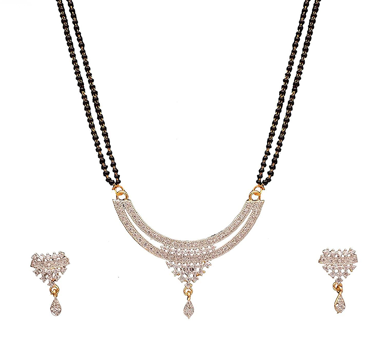 814508b772e Buy Cardinal American Diamond Latest Design mangalsutra Pendant Necklace Set  latest Design with Earring and Chain for Women Online at Low Prices in  India ...