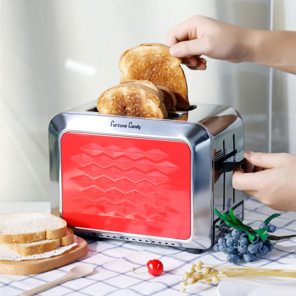 Fortune Candy Toaster,Red 2-Slice Toaster,Stainless Steel Toaster with Extra Wide Slots,Removable Crumb Tray,High Lift Lever,Bagel Defrost Reheat Cancel Function,7 Toast Shade Settings