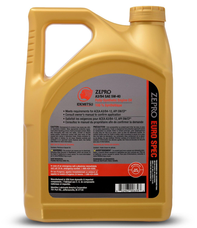 Amazon.com: ZEPRO 30010093-95300C020 Euro Formula 5W-40 Engine Oil (5 Quart), 160. Fluid_Ounces: Automotive