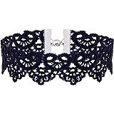 Jane Stone Damen Halskette schwarz Spitze Choker Blüten Gothic Stil breite Choker-Kette aus Nylon und Metalllegierung